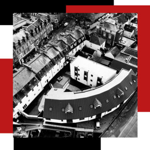 bishops place from above showing roof design and street view